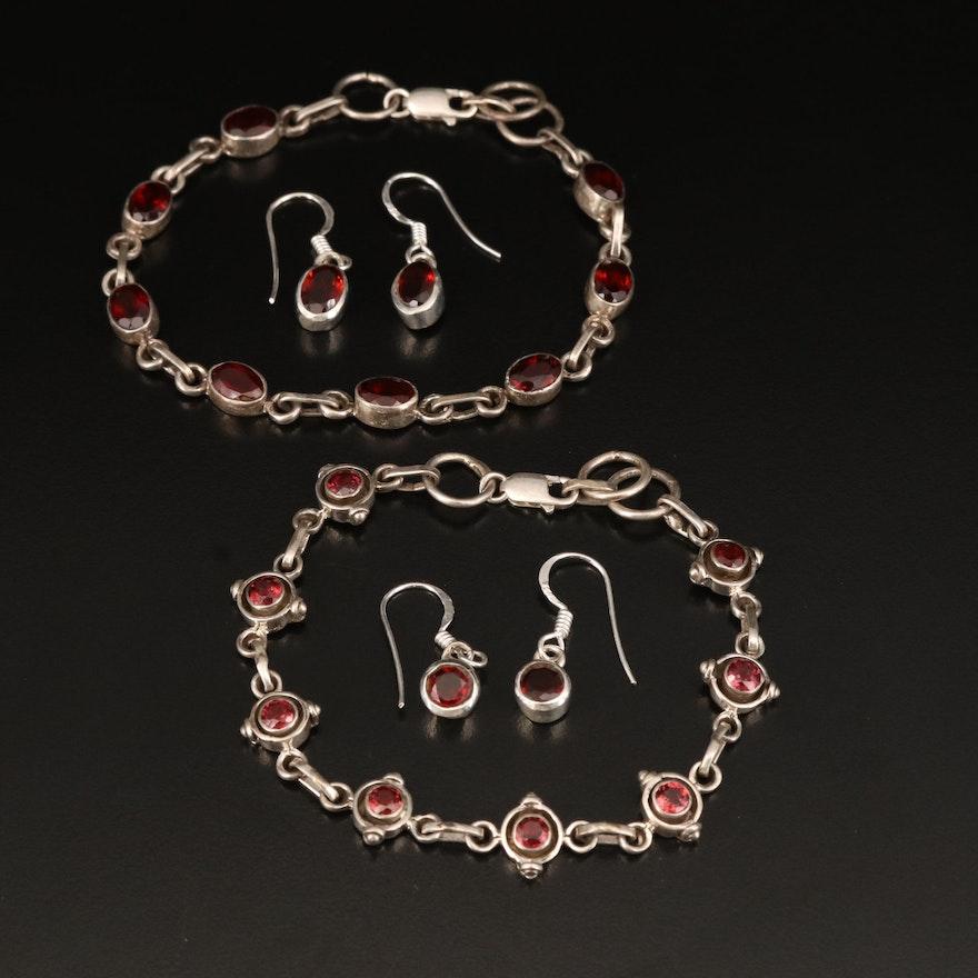 Sterling Garnet Bracelet and Earrings