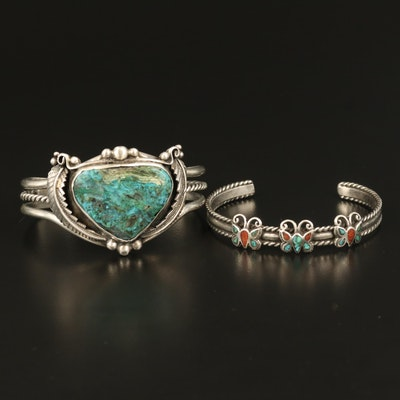 Western Sterling Eilat Stone, Coral and Turquoise Butterfly and Feather Cuffs