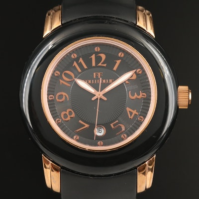 Folli Follie Black and Rose Gold Tone Quartz Wristwatch