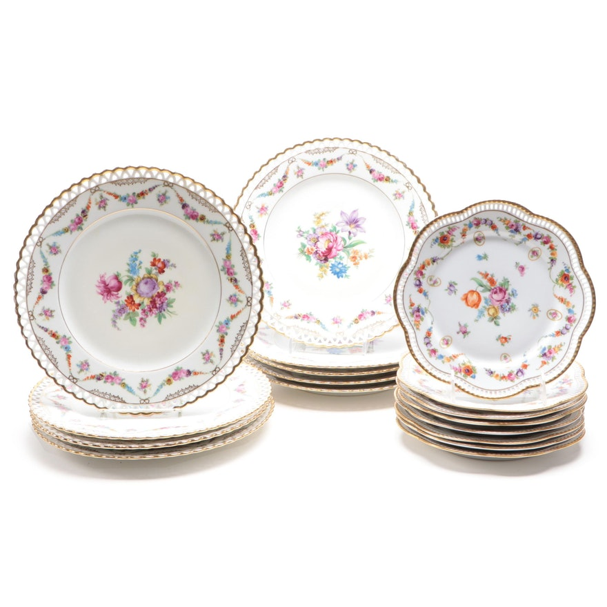 Schumann of Bavaria Floral Porcelain Dinner and Salad Plates, 1920s