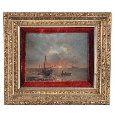 Sunrise Marine Seascape Oil Painting, Early 20th Century