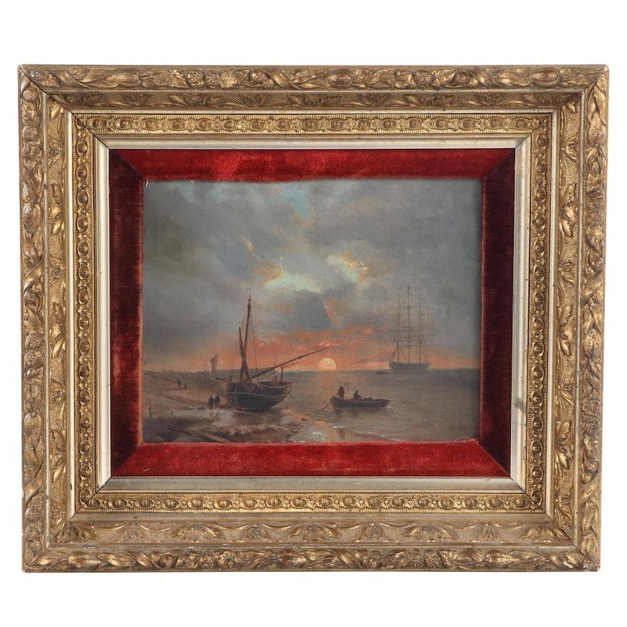 Sunrise Marine Seascape Oil Painting, Early 20th Century
