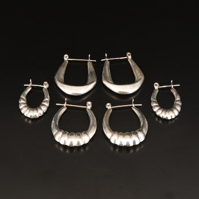Sterling Hoop Earrings Including Fluted Designs