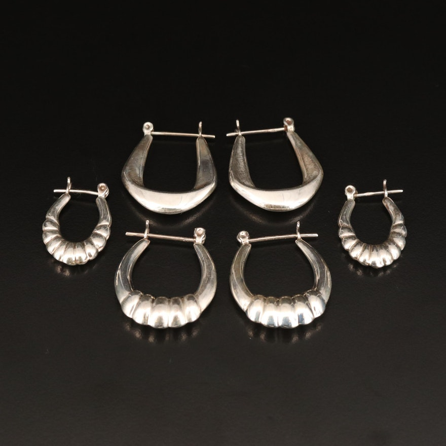 Sterling Hoop Earrings Including Fluted Designs