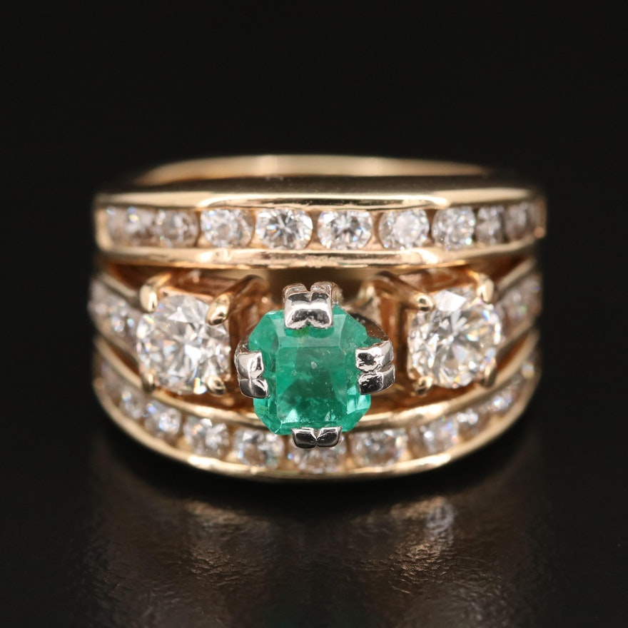 14K Emerald and 2.10 CTW Diamond Ring with GIA Report