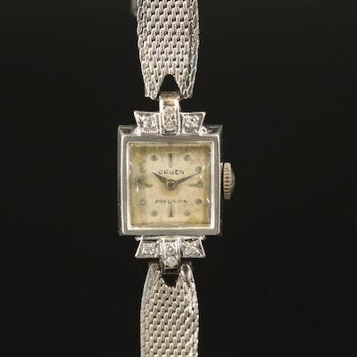 Gruen 14K Gold and Diamonds Stem Wind Wristwatch, Circa 1947