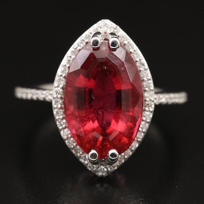 14K 5.59 CT Rubellite Tourmaline and Diamond Ring with GIA Report