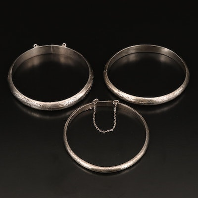 Sterling Patterned Hinged Bangles