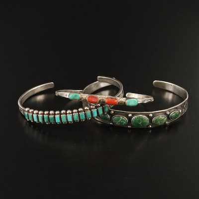 Western Sterling Silver Turquoise and Coral Cuff Bracelets