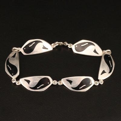 Vintage Danish Meka Reklamegaver Sterling Silver Enamel Whale Link Bracelet