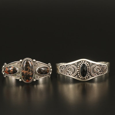 Sterling Southwestern Jasper and Bali Style Spinel Cuffs
