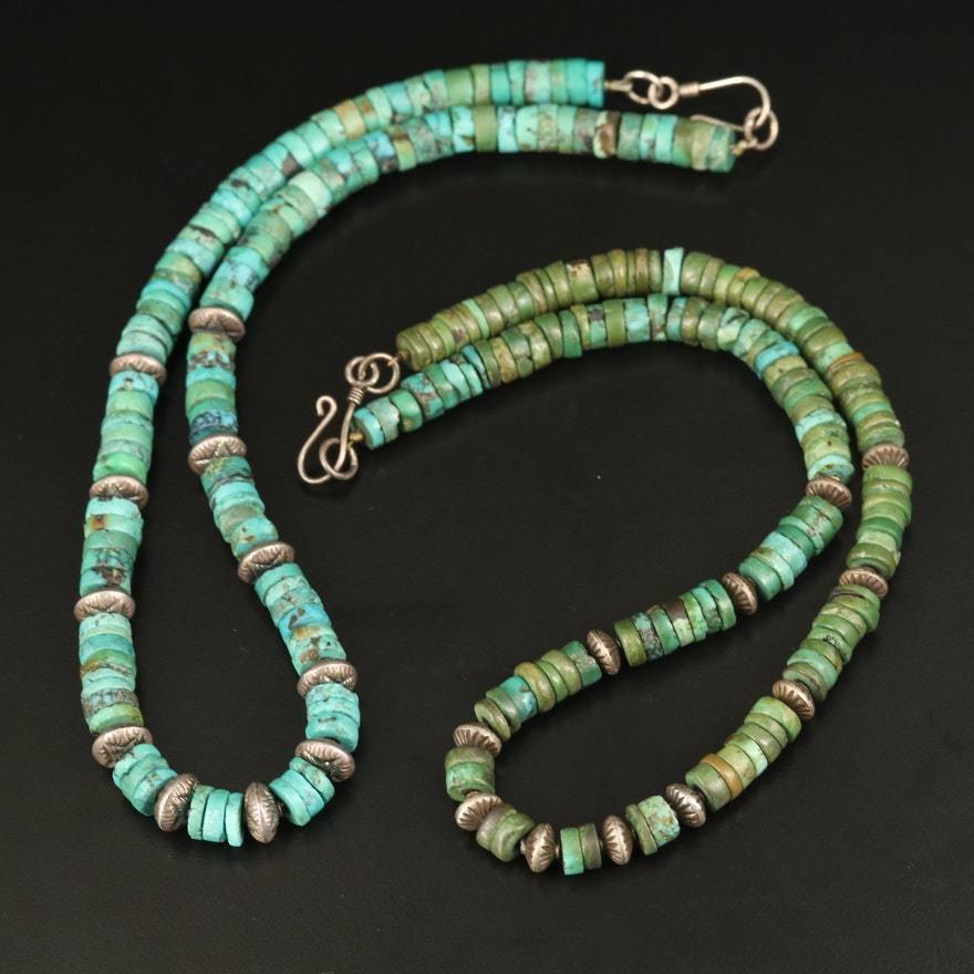 Sterling and 800 Silver Turquoise Beaded Necklaces