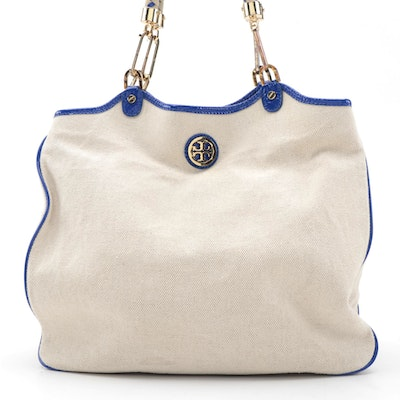 Tory Burch Tote in Natural Canvas and Blue Patent Leather