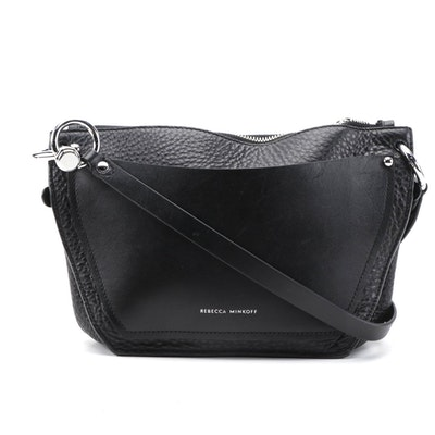 Rebecca Minkoff Crossbody in Black Textured and Smooth Leather