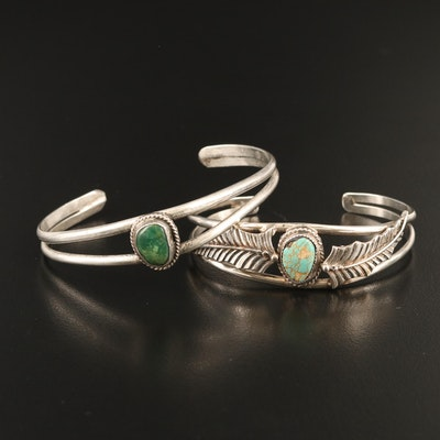 Western Sterling Freeform Turquoise Cuffs