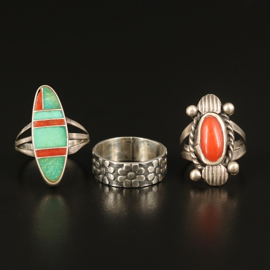 Sterling Rings with Turquoise and Coral