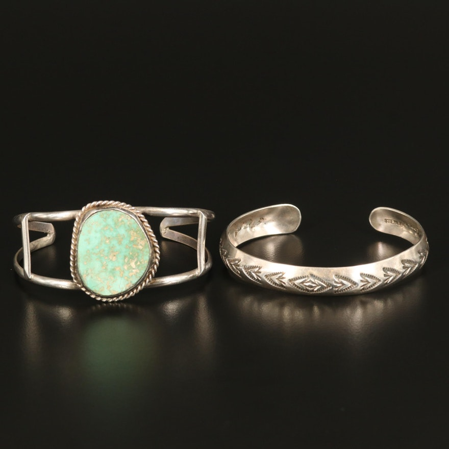 Sterling Silver Cuffs Featuring Signed W. Tracy and Turquoise
