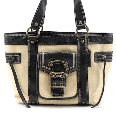 Coach Legacy Woven Straw Tote with Black Smooth Leather Trim