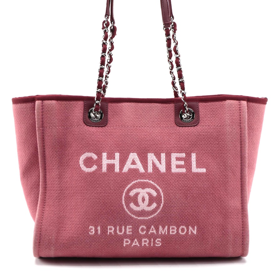 Chanel Large Deauville Shopping Bag in Dark Pink Toile and Burgundy Leather Trim