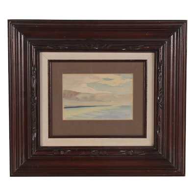 Seascape Watercolor Painting, Mid-20th Century