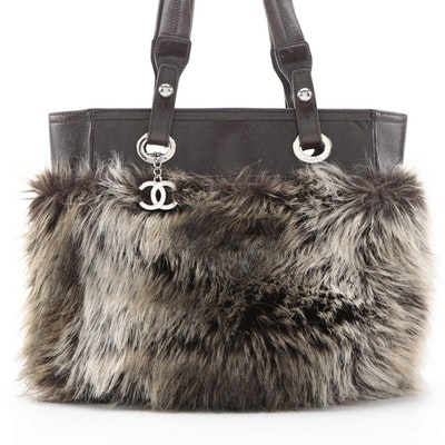 Chanel Biarritz Faux Fur Small Shoulder Tote with Dark Brown Leather Trim