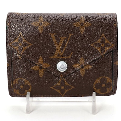 Louis Vuitton Marie Wallet in Monogram Canvas with Green Leather