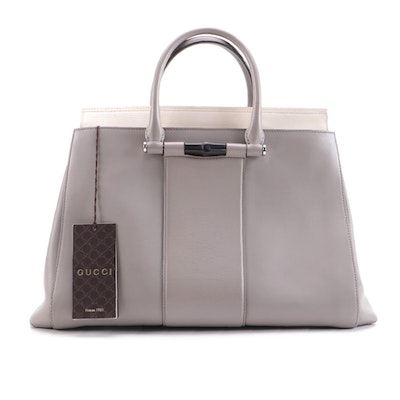 Gucci Two-Way Tote Bag in Bicolor Leather with Bamboo Detail