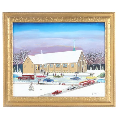 "Jim Roads Folk Art Acrylic Painting ""Calvary Baptist Church"""