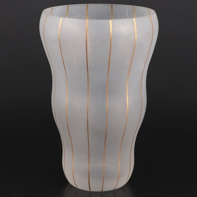 Modern Style Frosted and Gilt Pinstripe Art Glass Vase