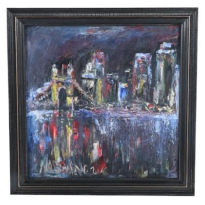 "Steve Nassano Oil Painting ""Night Bridge,"" 2016"