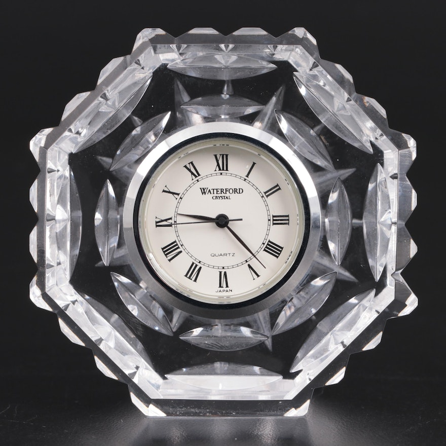 Waterford Crystal Octagonal Desk Clock, Late 20th Century