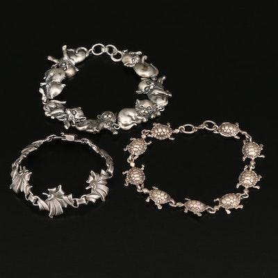 Sterling Cat, Turtle and Floral Motif Bracelets