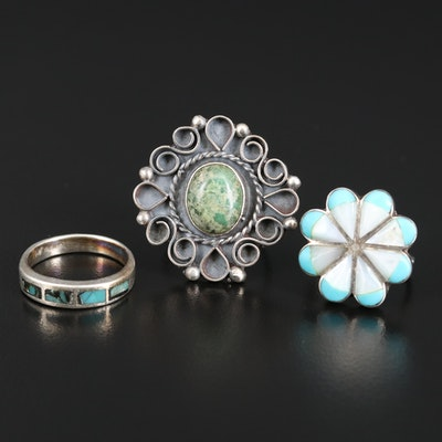 Sterling Ring Assortment Featuring Serpentine, Turquoise and Mother of Pearl