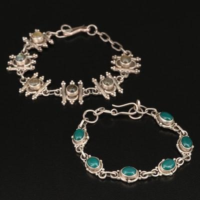 Sterling Silver Labradorite and Chalcedony Bracelets