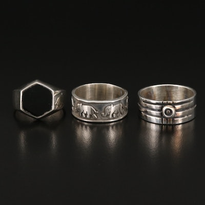 Sterling Silver Rings Including Niello Enamel and Elephant Band