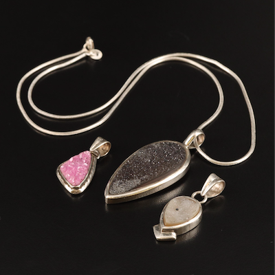 Sterling Freeform Druzy Necklace and Pendants
