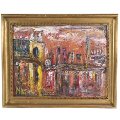 "Steve Nassano Oil Painting ""Cincinnati at Night"""