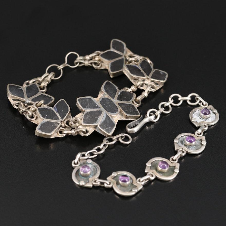 Vintage Sterling Amethyst Link Bracelet and Enamel Link Bracelet