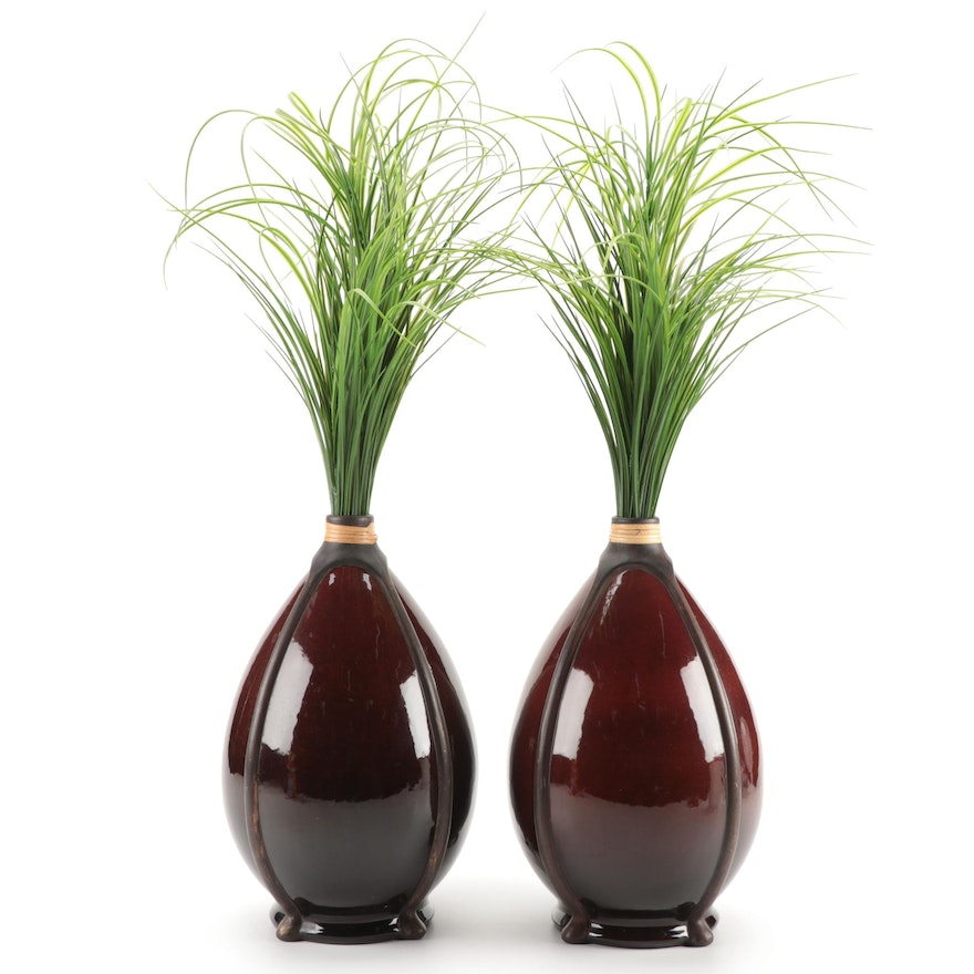 Pier 1 Ribbed Ceramic Vases with Artificial Greenery