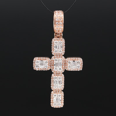 14K 2.00 CTW Diamond Cross Pendant