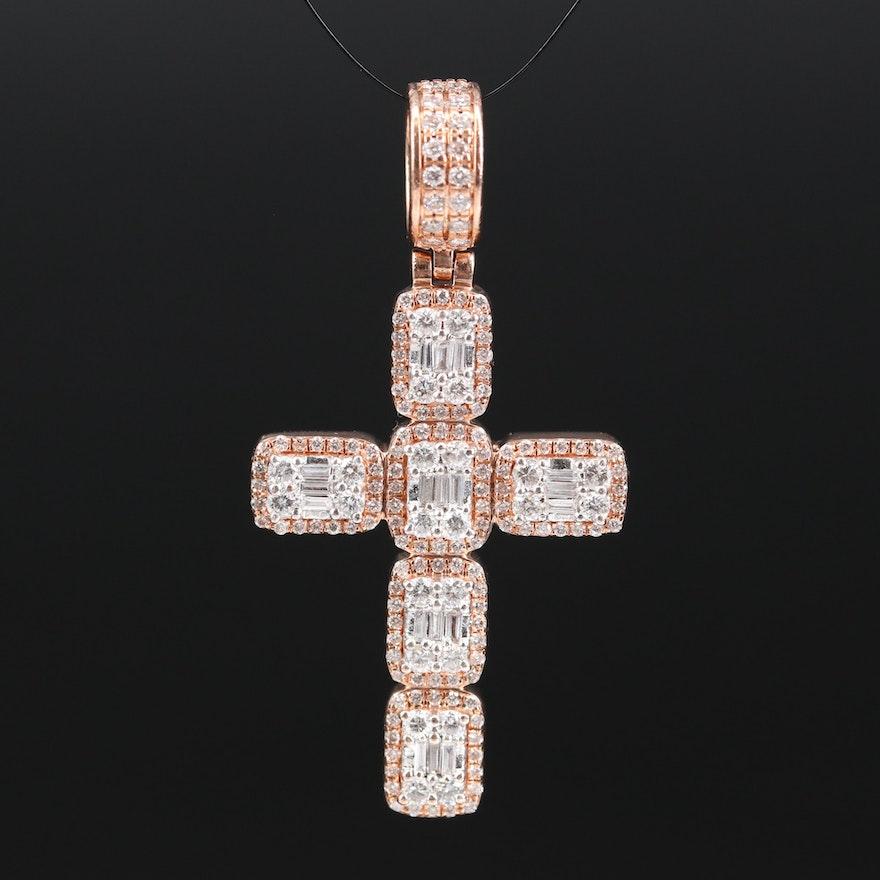 14K 2.00 CTW Diamond Cross Pendant