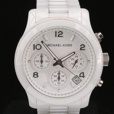 "Michael Kors ""Runway"" Chronograph White Ceramic Quartz Wristwatch"