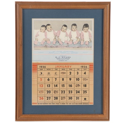 The Dionne Quintuplets Advertising Calendar, 1936