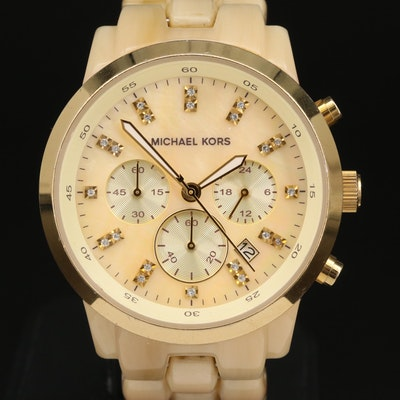 "Michael Kors ""Jet Set"" Chronograph Stainless Steel and Acrylic Wristwatch"