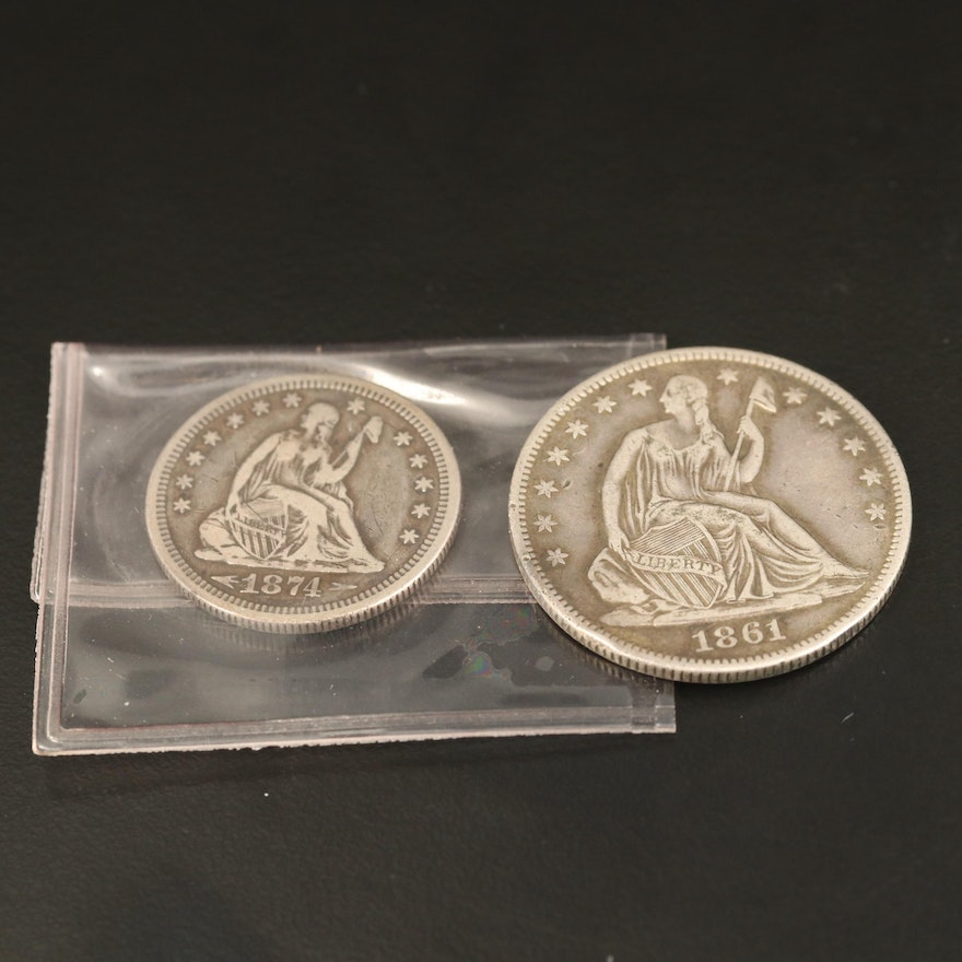 Liberty Seated Silver Half Dollar and Silver Quarter