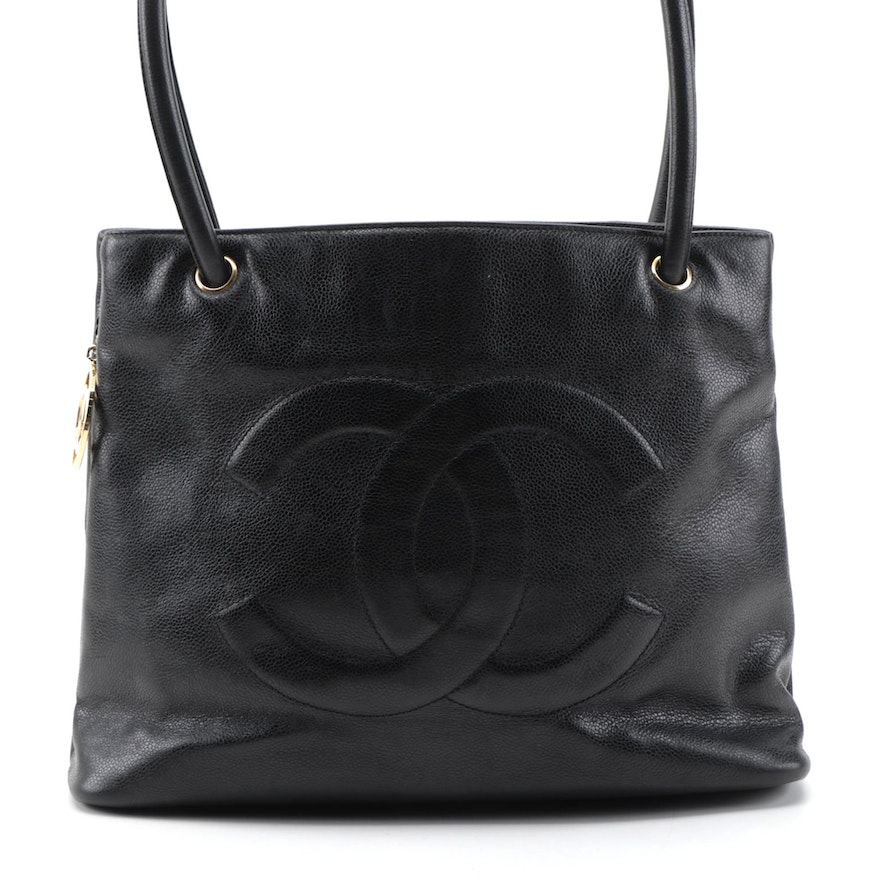 Chanel Black Caviar Leather CC Zipper Tote Bag