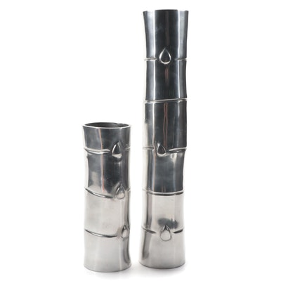 Silver Tone Metal Bamboo Shaped Vases