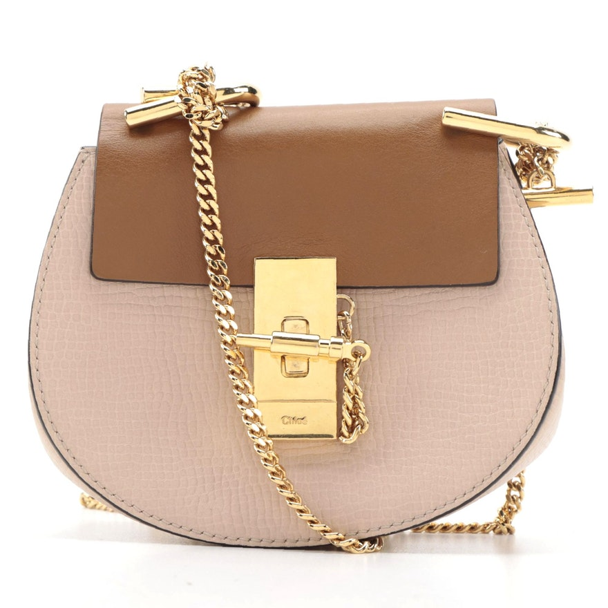Chloé Drew Mini Crossbody Bag in Blush and Tan Leather