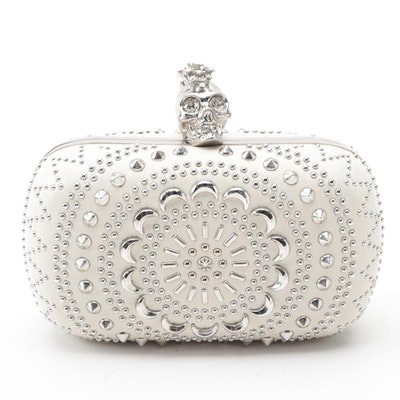 Alexander McQueen Brittania Studded White Leather Skull-Clasp Clutch Purse