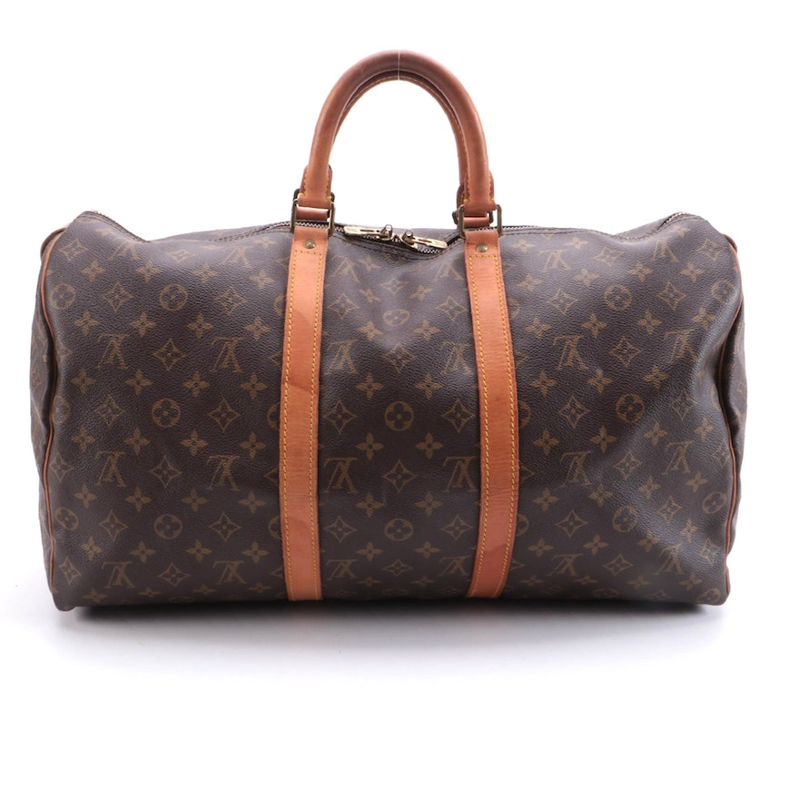 Louis Vuitton Keepall 50 in Monogram Coated Canvas and Vachetta Leather